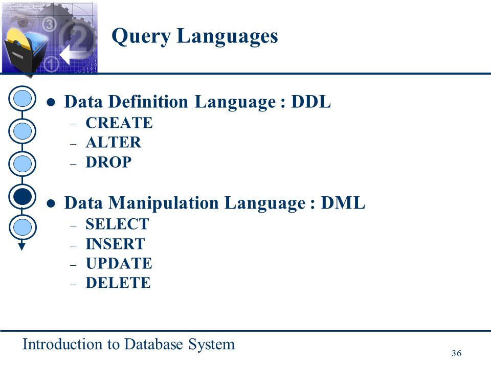 Introduction to Database System 36 Data Definition Language : DDL – CREATE – ALTER – DROP Data Manipulation Language : DML – SELECT – INSERT – UPDATE