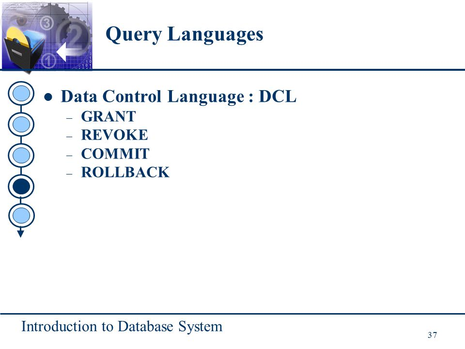 Introduction to Database System 37 Data Control Language : DCL – GRANT – REVOKE – COMMIT – ROLLBACK Query Languages
