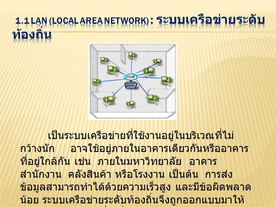เป็นระบบเครือข่ายที่ใช้งานอยู่ในบริเวณที่ไม่ กว้างนัก อาจใช้อยู่ภายในอาคารเดียวกันหรืออาคาร ที่อยู่ใกล้กัน เช่น ภายในมหาวิทยาลัย อาคาร สำนักงาน คลังสิ