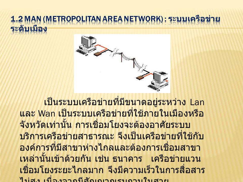 เป็นระบบเครือข่ายที่ติดตั้งใช้งานอยู่ในบริเวณ กว้าง เช่น ระบบเครือข่ายที่ติดตั้งใช้งานทั่วโลก เป็น เครือข่ายที่เชื่อมต่อคอมพิวเตอร์หรืออุปกรณ์ที่อยู่ ห่างไกลกันเข้าด้วยกัน อาจจะต้องเป็นการ ติดต่อสื่อสารกันในระดับประเทศ ข้ามทวีปหรือทั่วโลกก็ ได้ ในการเชื่อมการติดต่อนั้น จะต้องมีการต่อเข้ากับ ระบบสื่อสารขององค์การโทรศัพท์หรือ การสื่อสารแห่งประเทศไทยเสียก่อน เพราะจะเป็นการ ส่งข้อมูลผ่านสายโทรศัพท์ในการติดต่อสื่อสารกันโดย ปกติมีอัตราการส่งข้อมูลที่ต่ำและมีโอกาสเกิด ข้อผิดพลาด การส่งข้อมูลอาจใช้อุปกรณ์ในการสื่อสาร เช่น โมเด็ม (Modem) มาช่วย