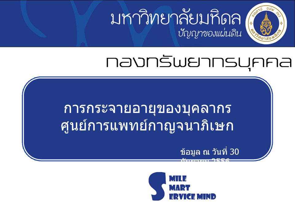การกระจายอายุของบุคลากร ศูนย์การแพทย์กาญจนาภิเษก ข้อมูล ณ วันที่ 30 กันยายน 2556