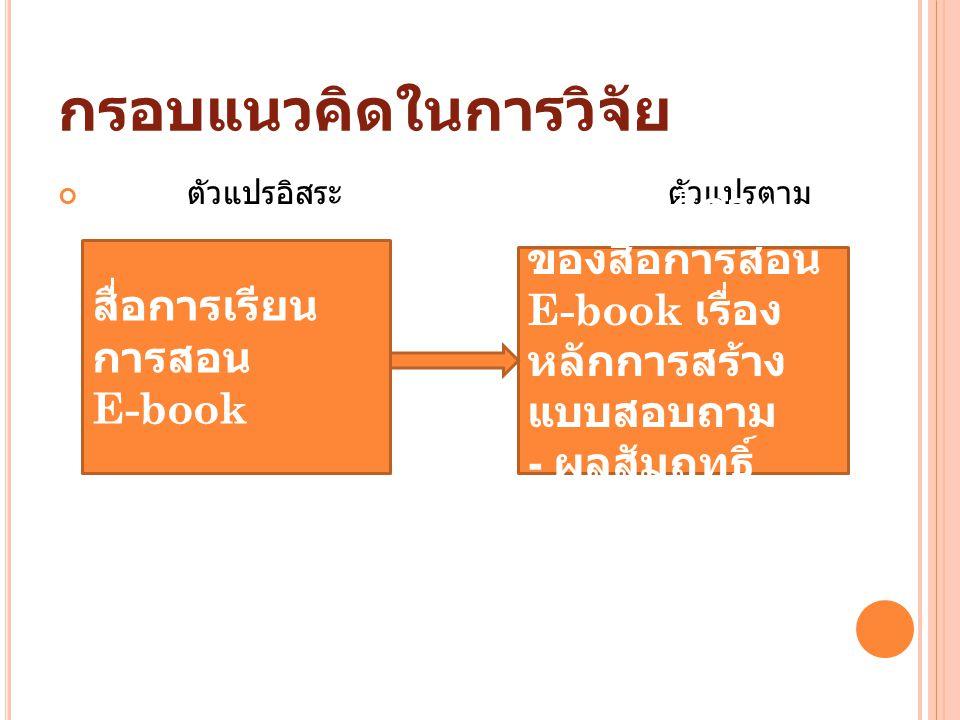 กรอบแนวคิดในการวิจัย ตัวแปรอิสระ ตัวแปรตาม สื่อการเรียน การสอน E-book - ประสิทธิภาพ ของสื่อการสอน E-book เรื่อง หลักการสร้าง แบบสอบถาม - ผลสัมฤทธิ์ ทางการเรียน