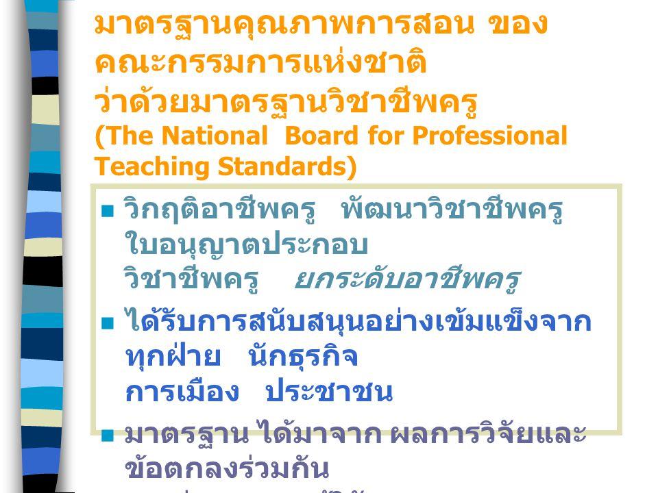 มาตรฐานคุณภาพการสอน ของ คณะกรรมการแห่งชาติ ว่าด้วยมาตรฐานวิชาชีพครู (The National Board for Professional Teaching Standards) วิกฤติอาชีพครู พัฒนาวิชาชีพครู ใบอนุญาตประกอบ วิชาชีพครู ยกระดับอาชีพครู ได้รับการสนับสนุนอย่างเข้มแข็งจาก ทุกฝ่าย นักธุรกิจ การเมือง ประชาชน มาตรฐาน ได้มาจาก ผลการวิจัยและ ข้อตกลงร่วมกัน ระหว่างครูและผู้วิจัย
