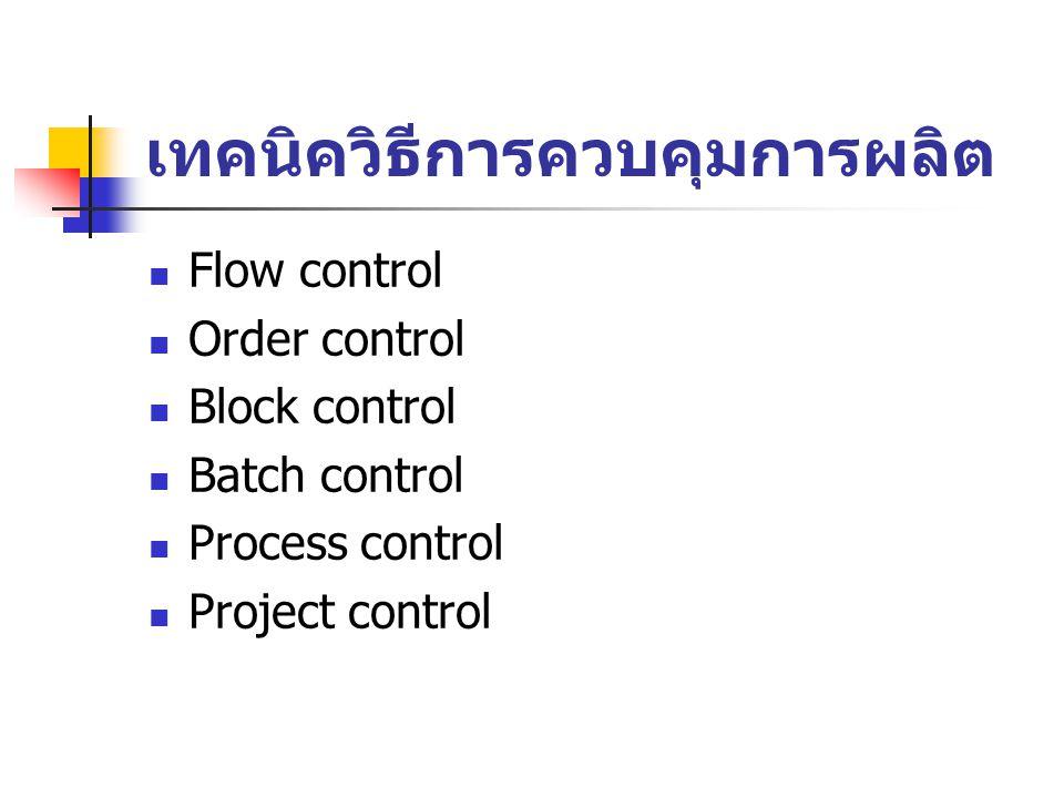 เทคนิควิธีการควบคุมการผลิต Flow control Order control Block control Batch control Process control Project control