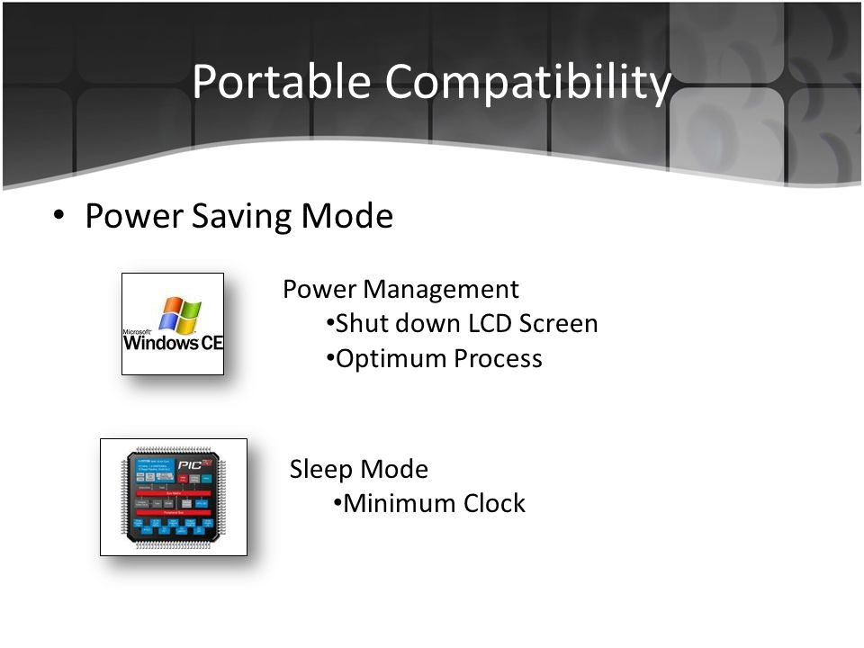 Portable Compatibility Power Saving Mode Power Management Shut down LCD Screen Optimum Process Sleep Mode Minimum Clock