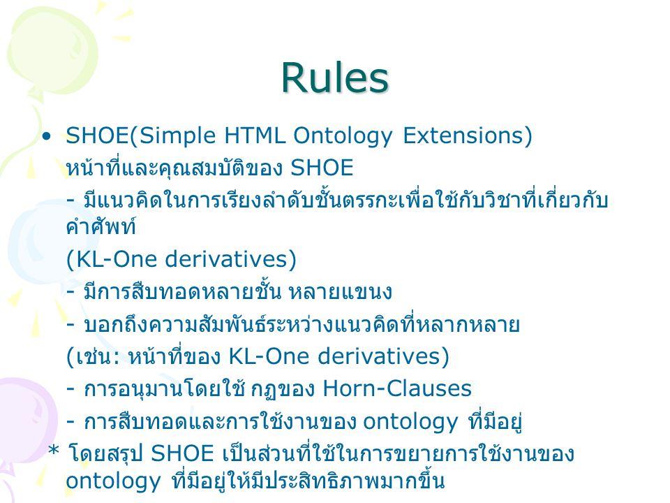 Rules SHOE(Simple HTML Ontology Extensions) หน้าที่และคุณสมบัติของ SHOE - มีแนวคิดในการเรียงลำดับชั้นตรรกะเพื่อใช้กับวิชาที่เกี่ยวกับ คำศัพท์ (KL-One derivatives) - มีการสืบทอดหลายชั้น หลายแขนง - บอกถึงความสัมพันธ์ระหว่างแนวคิดที่หลากหลาย ( เช่น : หน้าที่ของ KL-One derivatives) - การอนุมานโดยใช้ กฏของ Horn-Clauses - การสืบทอดและการใช้งานของ ontology ที่มีอยู่ * โดยสรุป SHOE เป็นส่วนที่ใช้ในการขยายการใช้งานของ ontology ที่มีอยู่ให้มีประสิทธิภาพมากขึ้น