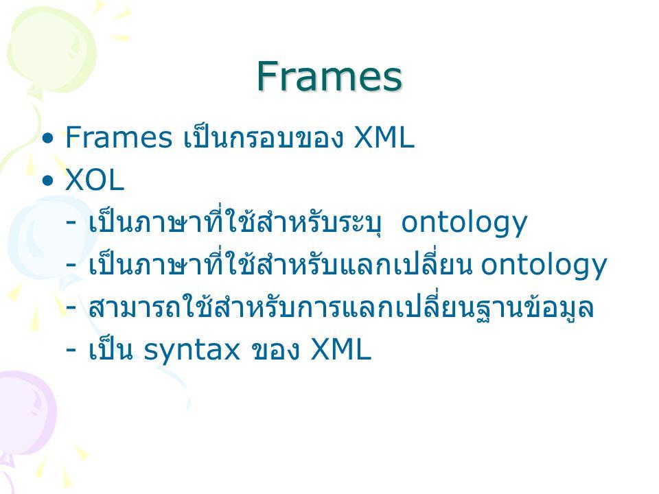 Frames Frames เป็นกรอบของ XML XOL - เป็นภาษาที่ใช้สำหรับระบุ ontology - เป็นภาษาที่ใช้สำหรับแลกเปลี่ยน ontology - สามารถใช้สำหรับการแลกเปลี่ยนฐานข้อมูล - เป็น syntax ของ XML