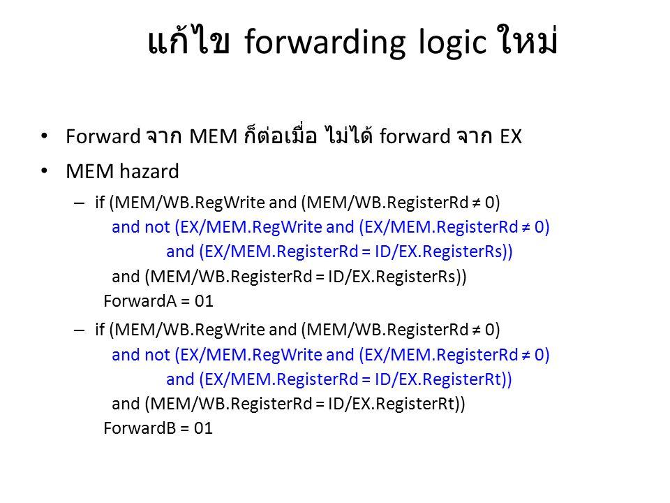 แก้ไข forwarding logic ใหม่ Forward จาก MEM ก็ต่อเมื่อ ไม่ได้ forward จาก EX MEM hazard – if (MEM/WB.RegWrite and (MEM/WB.RegisterRd ≠ 0) and not (EX/