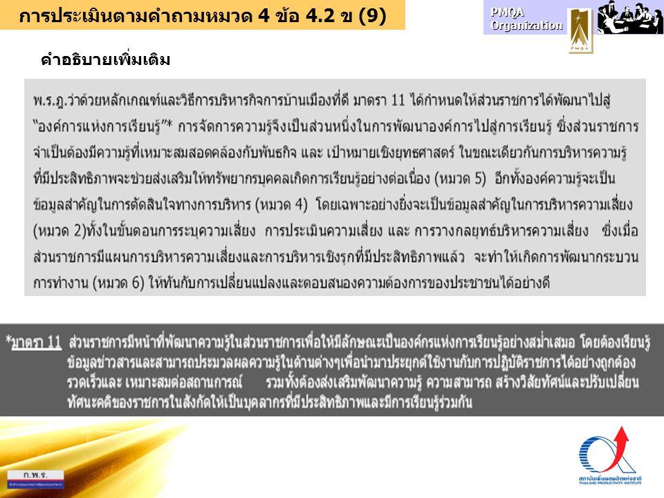 PMQA Organization การประเมินตามคำถามหมวด 4 ข้อ 4.2 ข (9) คำอธิบายเพิ่มเติม