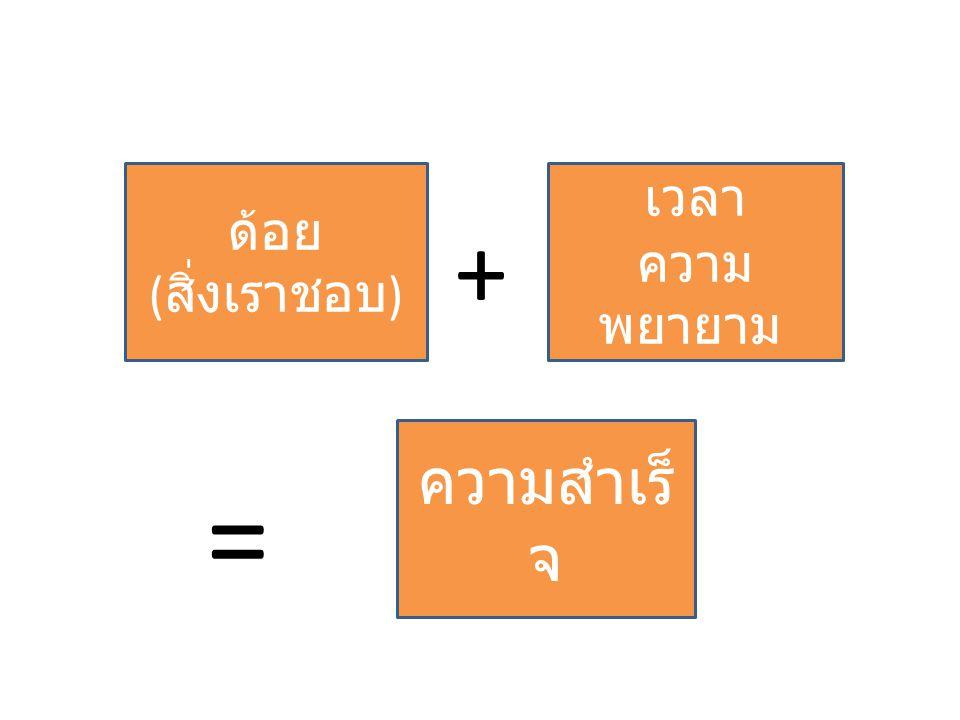 ด้อย ( สิ่งเราชอบ ) + เวลา ความ พยายาม ความสำเร็ จ =