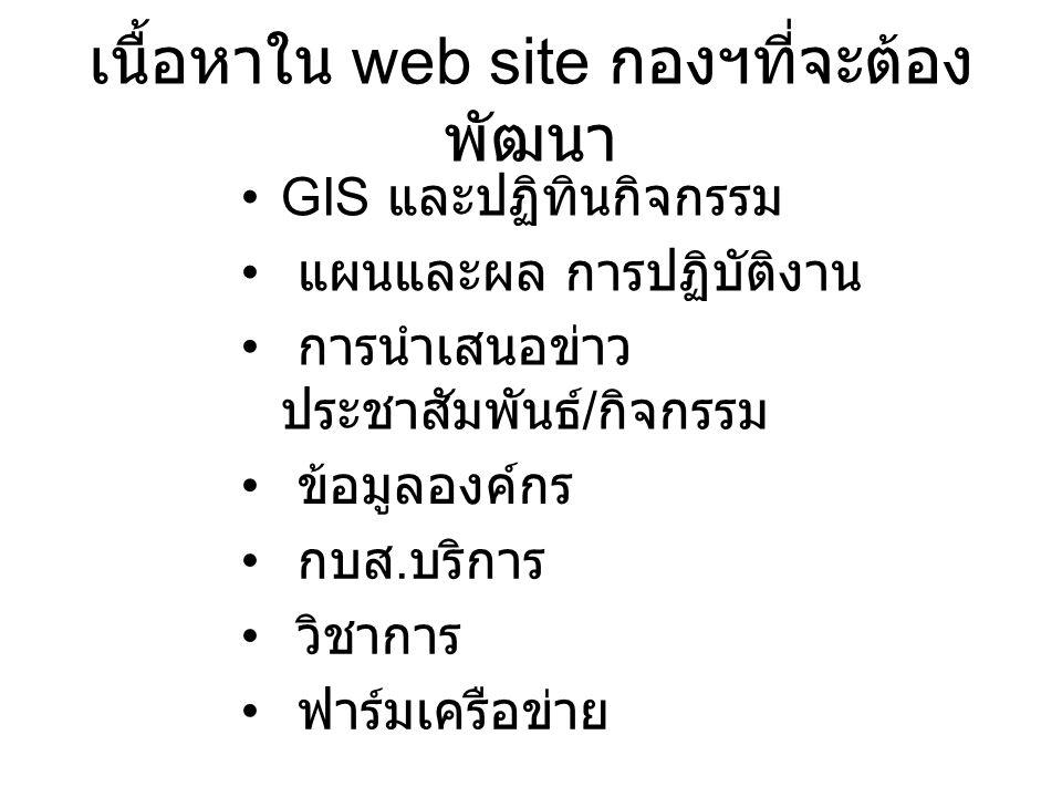 เนื้อหาใน web site กองฯที่จะต้อง พัฒนา GIS และปฏิทินกิจกรรม แผนและผล การปฏิบัติงาน การนำเสนอข่าว ประชาสัมพันธ์ / กิจกรรม ข้อมูลองค์กร กบส.