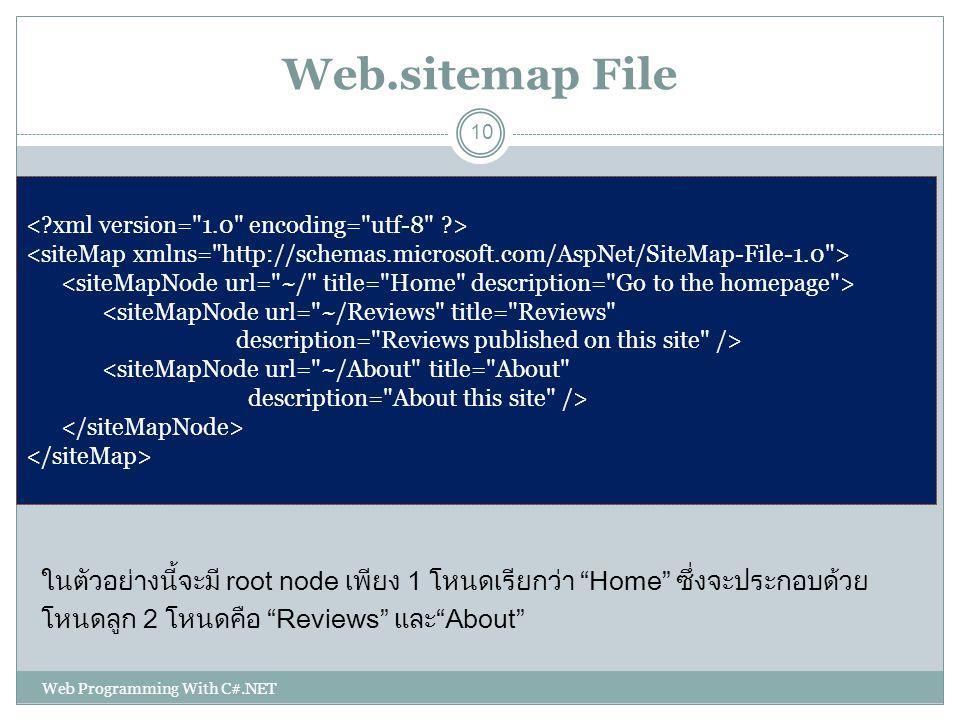 "Web.sitemap File ในตัวอย่างนี้จะมี root node เพียง 1 โหนดเรียกว่า ""Home"" ซึ่งจะประกอบด้วย โหนดลูก 2 โหนดคือ ""Reviews"" และ""About"" <siteMapNode url="