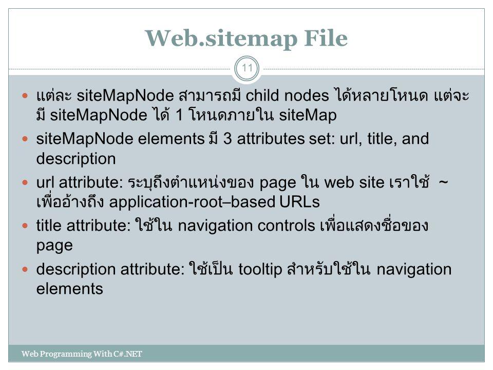 Web.sitemap File แต่ละ siteMapNode สามารถมี child nodes ได้หลายโหนด แต่จะ มี siteMapNode ได้ 1 โหนดภายใน siteMap siteMapNode elements มี 3 attributes
