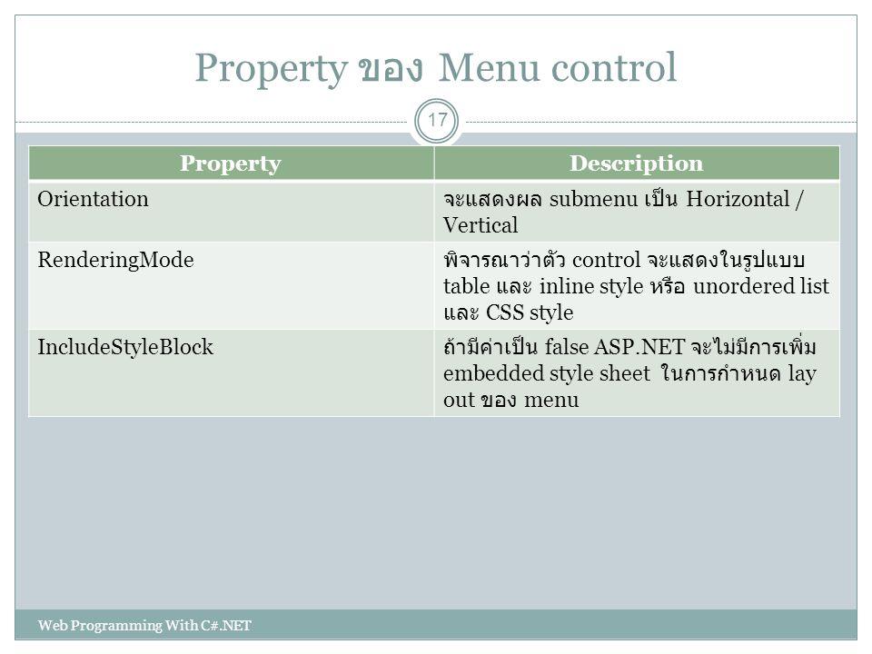 Property ของ Menu control PropertyDescription Orientation จะแสดงผล submenu เป็น Horizontal / Vertical RenderingMode พิจารณาว่าตัว control จะแสดงในรูปแ