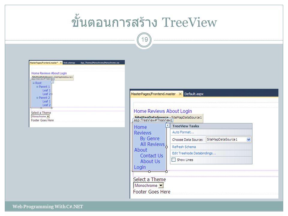 ขั้นตอนการสร้าง TreeView 19 Web Programming With C#.NET