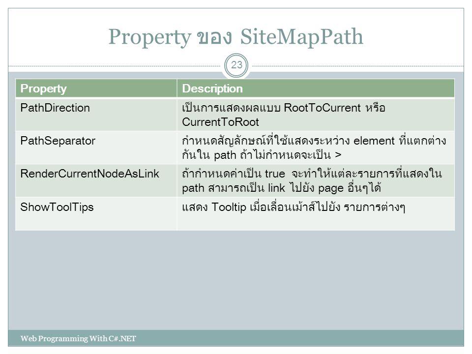 Property ของ SiteMapPath PropertyDescription PathDirectionเป็นการแสดงผลแบบ RootToCurrent หรือ CurrentToRoot PathSeparatorกำหนดสัญลักษณ์ที่ใช้แสดงระหว่