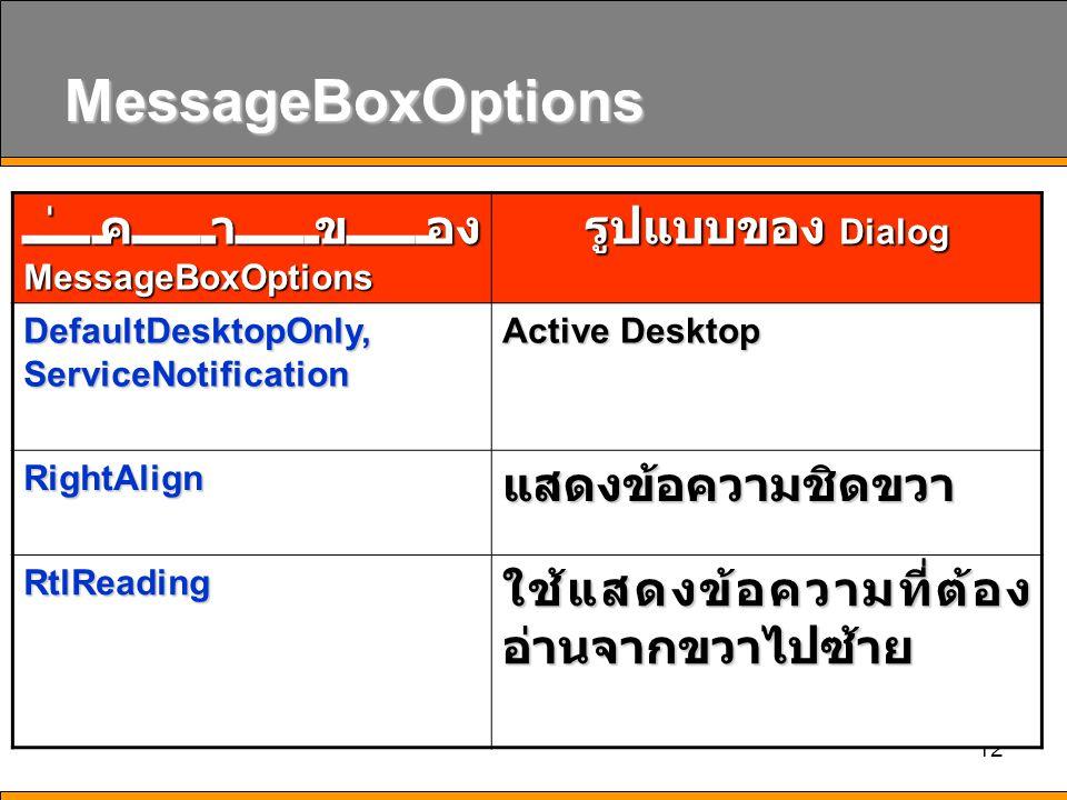 12 MessageBoxOptions ค่าของ MessageBoxOptions รูปแบบของ Dialog DefaultDesktopOnly, ServiceNotification Active Desktop RightAlignแสดงข้อความชิดขวา RtlR