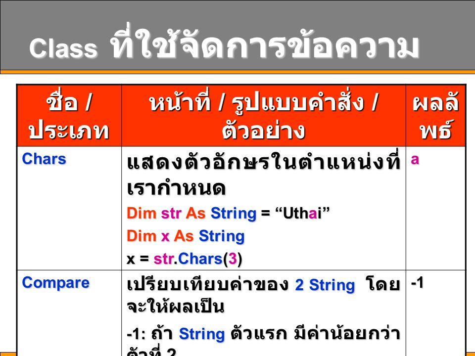 """14 Class ที่ใช้จัดการข้อความ ชื่อ / ประเภท หน้าที่ / รูปแบบคำสั่ง / ตัวอย่าง ผลลั พธ์ Chars แสดงตัวอักษรในตำแหน่งที่ เรากำหนด Dim str As String = """"Uth"""
