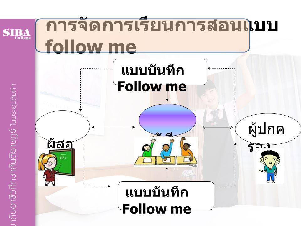 การจัดการเรียนการสอนแบบ follow me ผู้สอ น ผู้เรีย น ผู้ปกค รอง แบบบันทึก Follow me