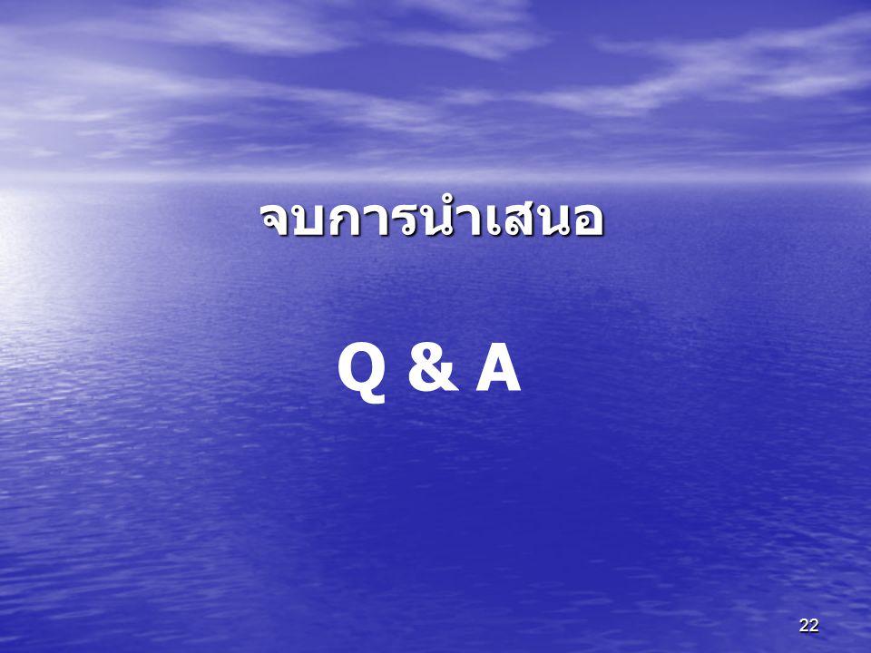 22 Q & A จบการนำเสนอ