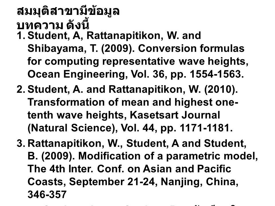 สมมุติสาขามีข้อมูล บทความ ดังนี้ 1.Student, A, Rattanapitikon, W. and Shibayama, T. (2009). Conversion formulas for computing representative wave heig