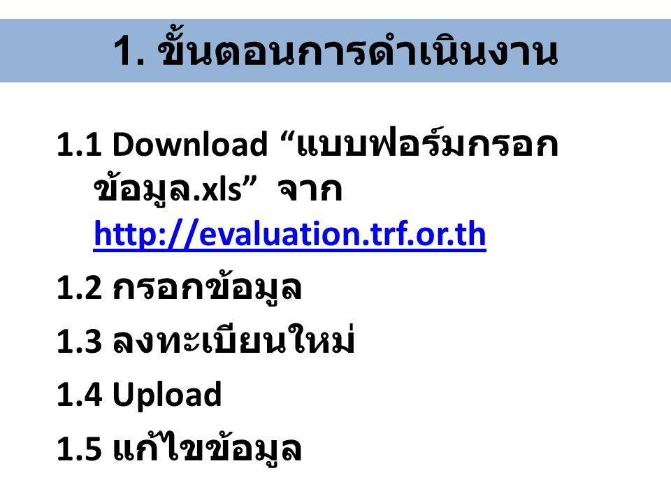 """1. ขั้นตอนการดำเนินงาน 1.1 Download """" แบบฟอร์มกรอก ข้อมูล.xls"""" จาก http://evaluation.trf.or.th http://evaluation.trf.or.th 1.2 กรอกข้อมูล 1.3 ลงทะเบีย"""