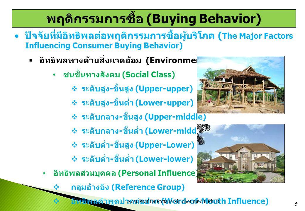  ปัจจัยที่มีอิทธิพลต่อพฤติกรรมการซื้อผู้บริโภค ( The Major Factors Influencing Consumer Buying Behavior)  อิทธิพลส่วนบุคคล (Personal Influences) ครอบครัว (Family)  ขั้นเป็นโสด (Single Stage)  สมรสใหม่ (Newly Married Couples)\  ครอบครัวมีบุตรขั้นที่ 1 (Full Nest I)  ครอบครัวมีบุตรขั้นที่ 2 (Full Nest III)  ครอบครัวมีบุตรขั้นที่ 3 (Full-Nest III)  ครอบครัวที่บุตรแยกออกไปขั้นที่ 1 (Empty Nest I)  ครอบครัวที่บุตรแยกออกไปขั้นที่ 2 (Empty Nest II)  มีชีวิตอยู่คนเดียว (The Solitary Survivor)  อยู่คนเดียวและเกษียณอายุการทำงาน (The Retired Solitary Survivor) 6 4/20/2015 Asst.Prof.Dr.Pattana Sirichotpundit, Ph.D.