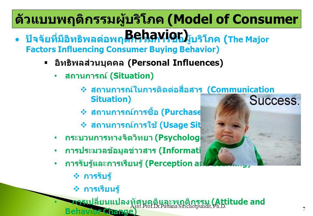  ปัจจัยที่มีอิทธิพลต่อพฤติกรรมการซื้อผู้บริโภค ( The Major Factors Influencing Consumer Buying Behavior)  ความแตกต่างส่วนบุคคล (Individual Differences) แรงจูงใจและความคิดส่วนตน (Motivation and Self-Concept)  แรงจูงใจ  ความคิดส่วนตน บุคลิกภาพ ค่านิยม และรูปแบบการดำรงชีวิต (Personality, Value and Lifestyle)  บุคลิกภาพ  ค่านิยมหรือคุณค่า  รูปแบบการดำรงชีวิต  อิทธิพลทางด้านสิ่งแวดล้อม (Environmental Influences) ปัจจัยด้านวัฒนธรรม (Cultural Factor)  วัฒนธรรมพื้นฐาน (Culture)  วัฒนธรรมกลุ่มย่อย (Subculture) C5 8 Asst.Prof.Dr.Pattana Sirichotpundit, Ph.D.