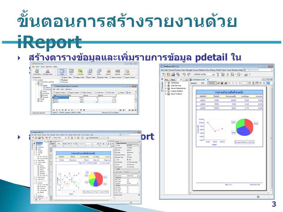  เขียน โปรแกรมติดต่อฐานข้อมูล และโปรแกรม reportbtnTest โปรแกรมติดต่อฐานข้อมูล reportbtnTest  ผลการทำงานของโปรแกรม 4