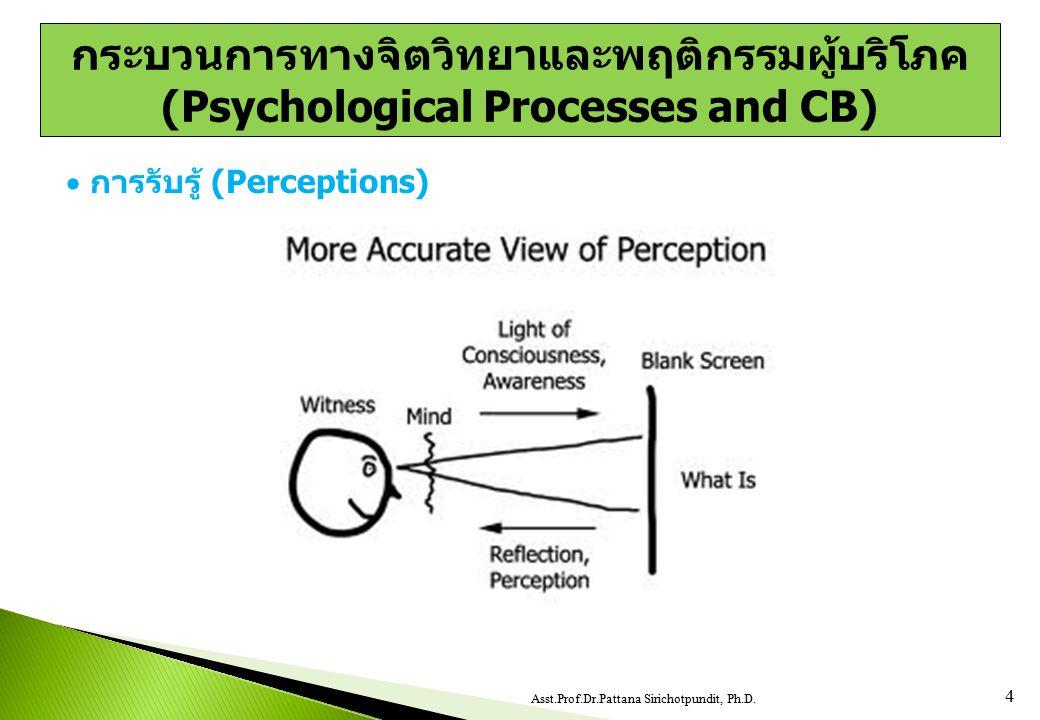  การรับรู้ (Perceptions) 4 Asst.Prof.Dr.Pattana Sirichotpundit, Ph.D. กระบวนการทางจิตวิทยาและพฤติกรรมผู้บริโภค (Psychological Processes and CB)
