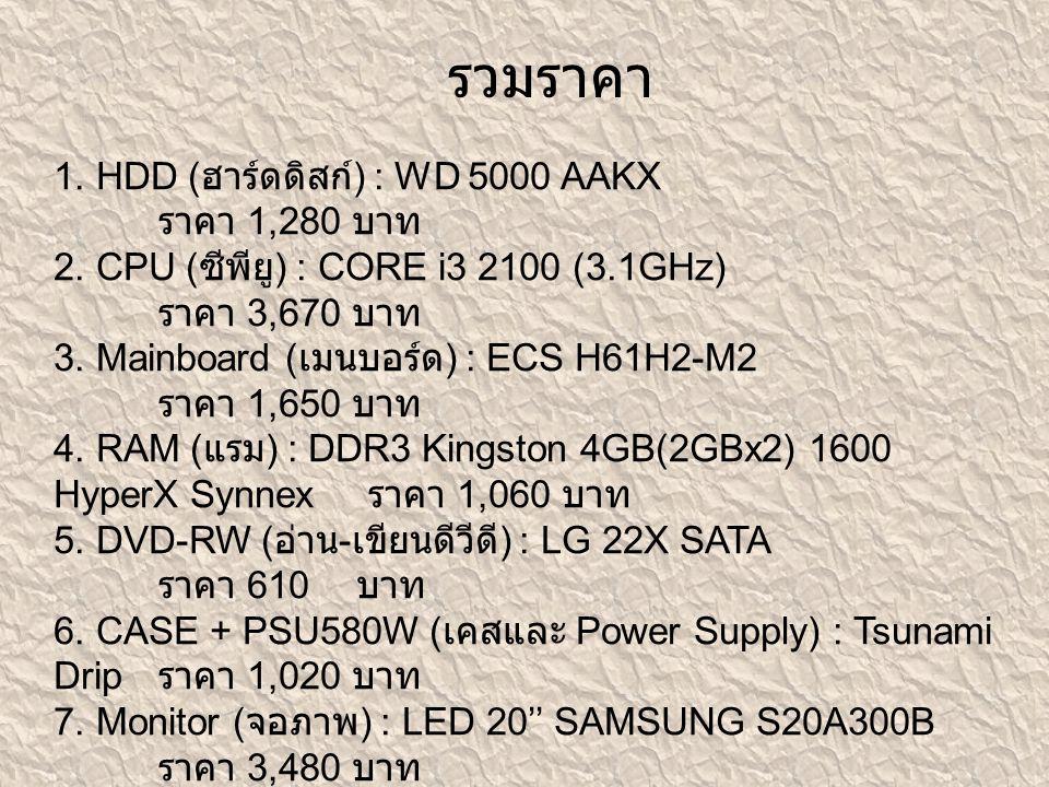 1. HDD ( ฮาร์ดดิสก์ ) : WD 5000 AAKX ราคา 1,280 บาท 2. CPU ( ซีพียู ) : CORE i3 2100 (3.1GHz) ราคา 3,670 บาท 3. Mainboard ( เมนบอร์ด ) : ECS H61H2-M2