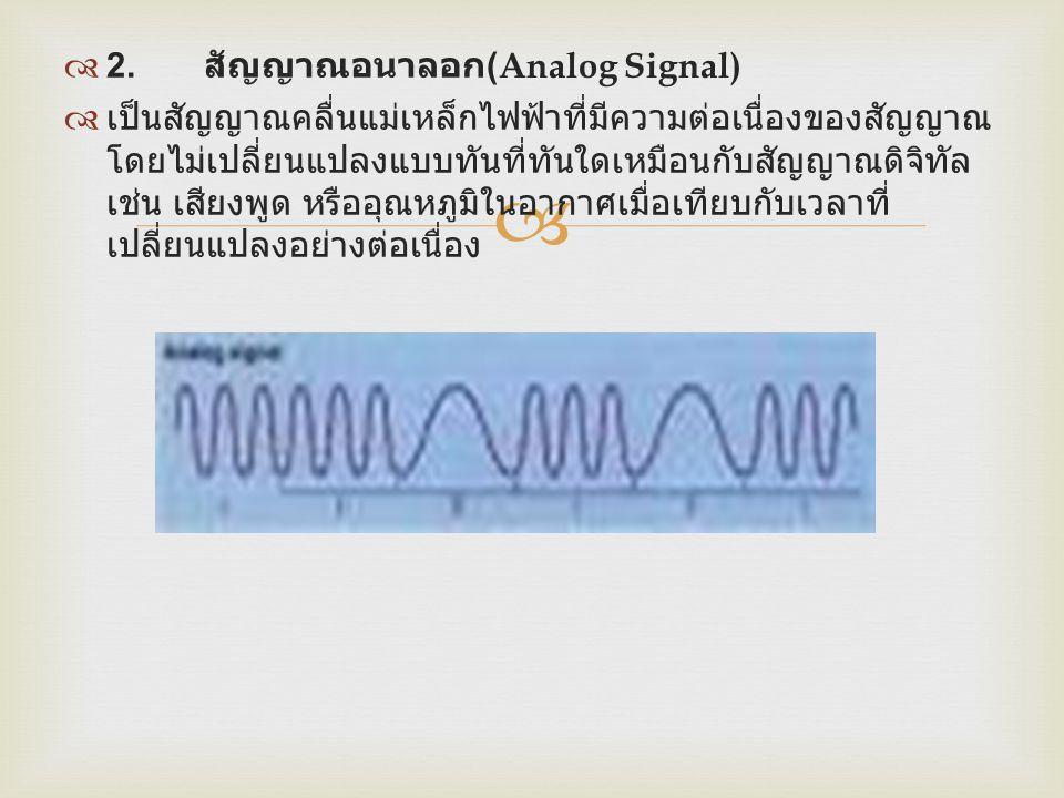  2. สัญญาณอนาลอก (Analog Signal)  เป็นสัญญาณคลื่นแม่เหล็กไฟฟ้าที่มีความต่อเนื่องของสัญญาณ โดยไม่เปลี่ยนแปลงแบบทันที่ทันใดเหมือนกับสัญญาณดิจิทัล เช
