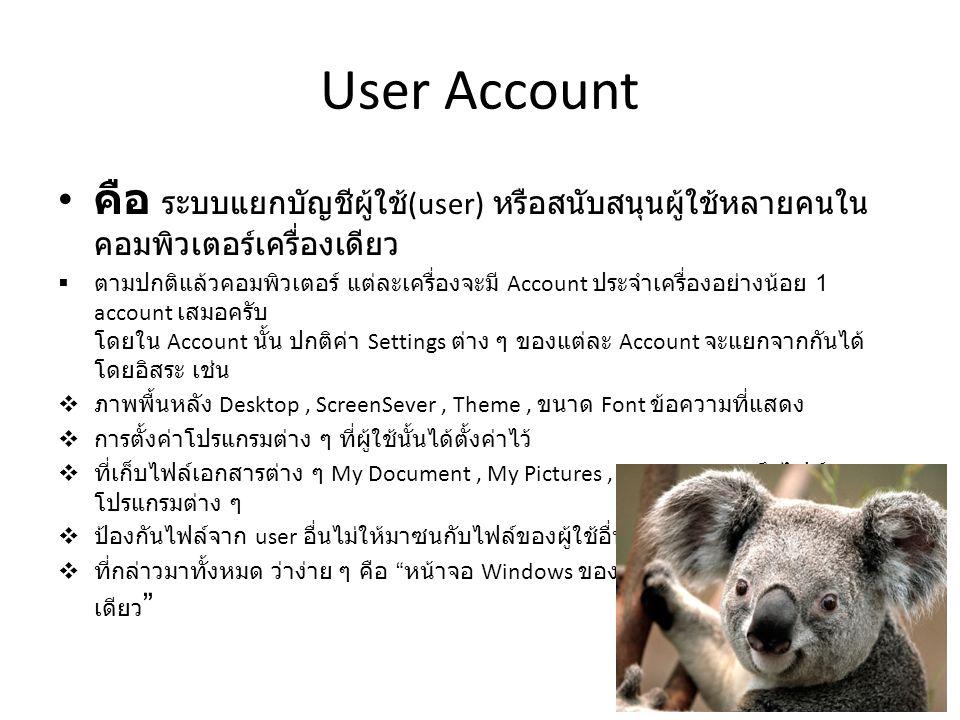 User Account คือ ระบบแยกบัญชีผู้ใช้ (user) หรือสนับสนุนผู้ใช้หลายคนใน คอมพิวเตอร์เครื่องเดียว  ตามปกติแล้วคอมพิวเตอร์ แต่ละเครื่องจะมี Account ประจำเครื่องอย่างน้อย 1 account เสมอครับ โดยใน Account นั้น ปกติค่า Settings ต่าง ๆ ของแต่ละ Account จะแยกจากกันได้ โดยอิสระ เช่น  ภาพพื้นหลัง Desktop, ScreenSever, Theme, ขนาด Font ข้อความที่แสดง  การตั้งค่าโปรแกรมต่าง ๆ ที่ผู้ใช้นั้นได้ตั้งค่าไว้  ที่เก็บไฟล์เอกสารต่าง ๆ My Document, My Pictures, My Music รวมถึงไฟล์ของ โปรแกรมต่าง ๆ  ป้องกันไฟล์จาก user อื่นไม่ให้มาซนกับไฟล์ของผู้ใช้อื่น หรือไฟล์ของระบบ  ที่กล่าวมาทั้งหมด ว่าง่าย ๆ คือ หน้าจอ Windows ของใครของมัน แต่อยู่บนเครื่อง เดียว