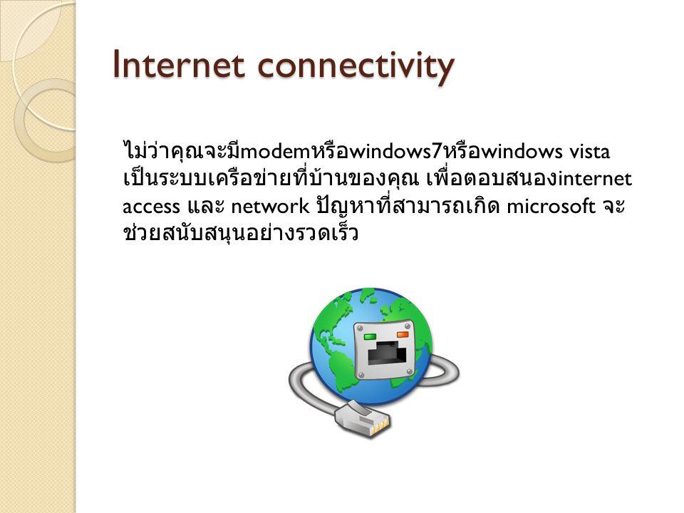 Internet connectivity ไม่ว่าคุณจะมี modem หรือ windows7 หรือ windows vista เป็นระบบเครือข่ายที่บ้านของคุณ เพื่อตอบสนอง internet access และ network ปัญหาที่สามารถเกิด microsoft จะ ช่วยสนับสนุนอย่างรวดเร็ว
