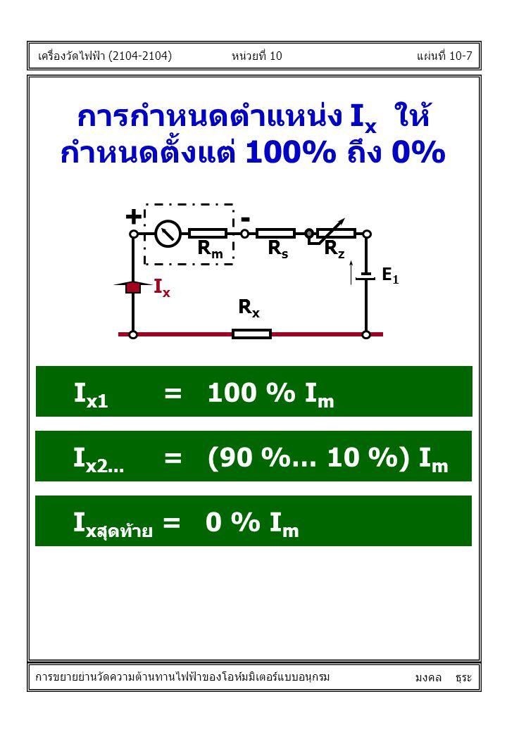 เครื่องวัดไฟฟ้า (2104-2104) มงคล ธุระ การกำหนดตำแหน่ง I x ให้ กำหนดตั้งแต่ 100% ถึง 0% I x1 = 100 % I m แผ่นที่ 10-7หน่วยที่ 10 การขยายย่านวัดความต้าน