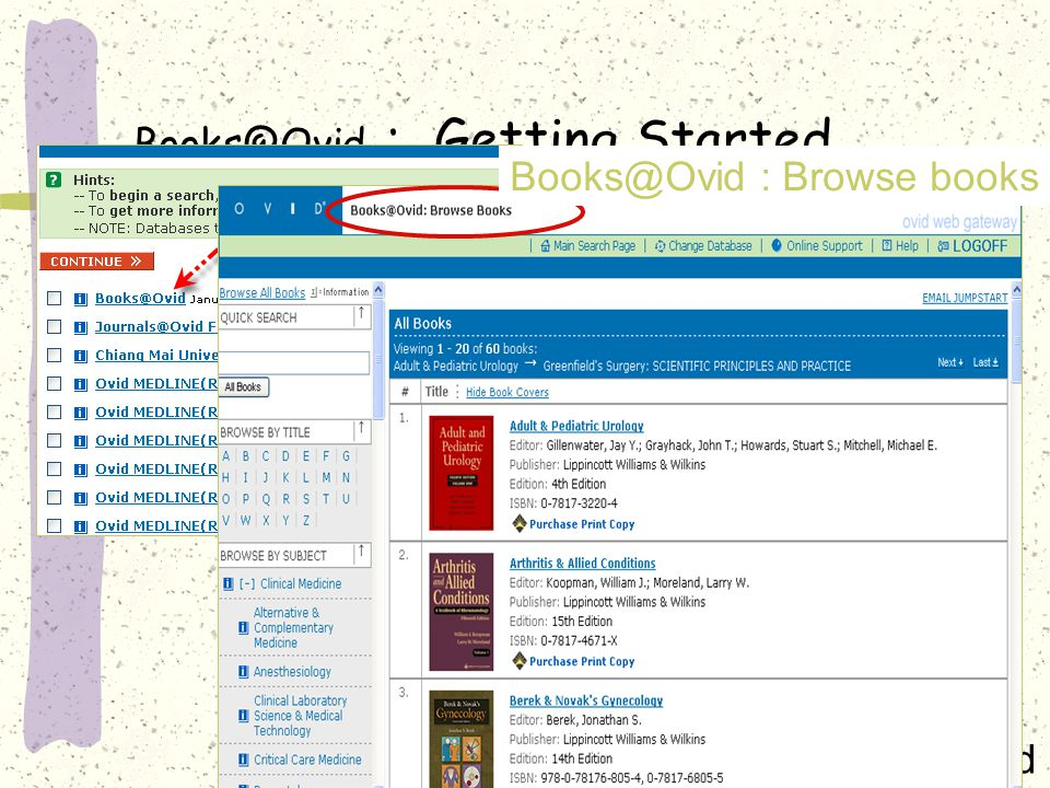 Books@Ovid : Getting Started »Books@Ovid Books@Ovid : Browse books