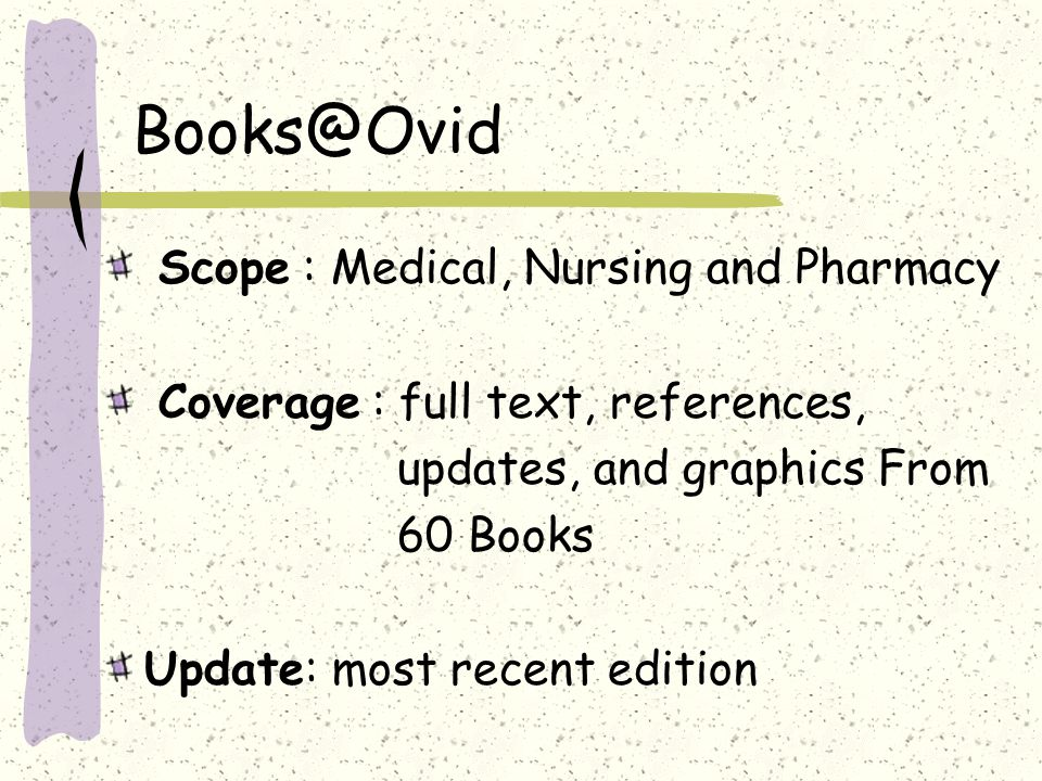 Books@Ovid : Getting Started »Books@Ovid 1.Search a single database 2.Search more than one or all 3.Click Continue 4.More information on a database