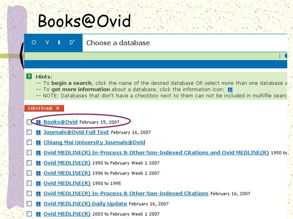 Books@Ovid : Getting Started »Books@Ovid Change database