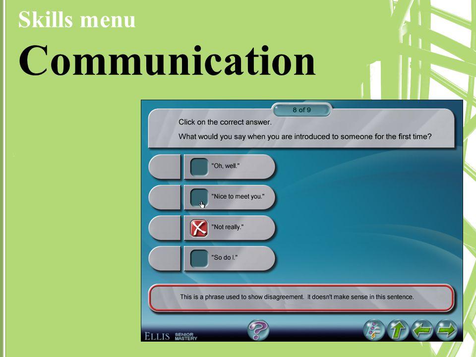 Skills menu Communication