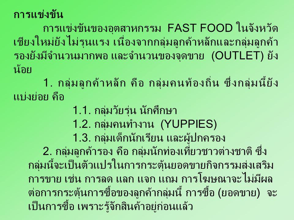 มาเผยแพร่ซึ่งทำให้ราคาสินค้า รสชาติและคุณค่าของ อาหารที่สูงกว่าอาหารประเภท FAST FOOD อื่น ๆ เป็นที่ยอมรับอย่างรวดเร็ว 4. สถานที่ตั้ง การตกแต่งร้าน ควา