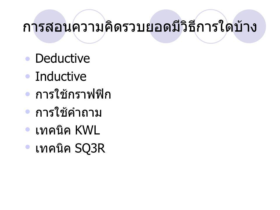 การสอนความคิดรวบยอดมีวิธีการใดบ้าง Deductive Inductive การใช้กราฟฟิก การใช้คำถาม เทคนิค KWL เทคนิค SQ3R