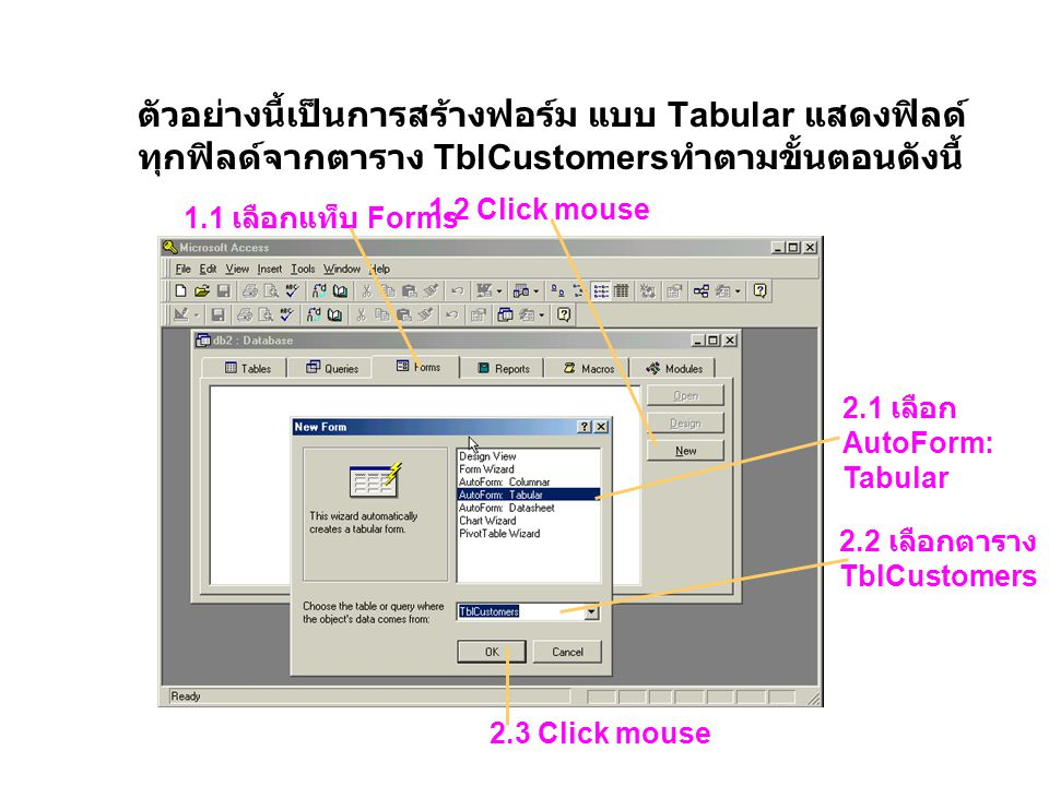 ตัวอย่างนี้เป็นการสร้างฟอร์ม แบบ Tabular แสดงฟิลด์ ทุกฟิลด์จากตาราง TblCustomers ทำตามขั้นตอนดังนี้ 1.1 เลือกแท็บ Forms 1.2 Click mouse 2.1 เลือก Auto