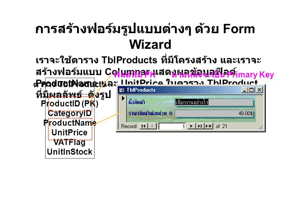 การสร้างฟอร์มรูปแบบต่างๆ ด้วย Form Wizard เราจะใช้ตาราง TblProducts ที่มีโครงสร้าง และเราจะ สร้างฟอร์มแบบ Columnar แสดงผลข้อมูลฟิลด์ ProductName และ UnitPrice ในตาราง TblProduct ที่มีผลลัพธ์ ดังรูป ตาราง TblProducts ProductID (PK) CategoryID ProductName UnitPrice VATFlag UnitInStock ฟิลด์ที่มี PK ตามหลังจะเป็น Primary Key