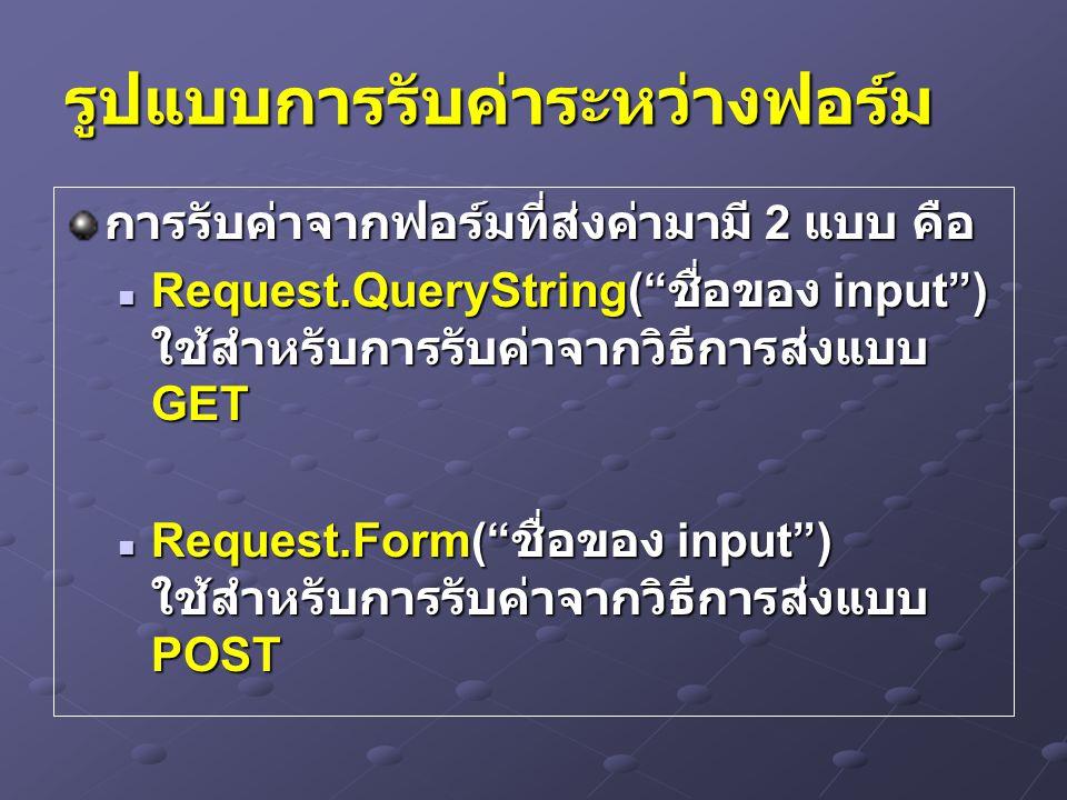 ส่งและรับค่าระหว่างฟอร์มไป เรื่อยๆ Send.aspConfirm.asp Save.asp AgeAge1=Age A=Age1