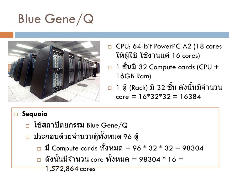 Blue Gene/Q  CPU: 64-bit PowerPC A2 (18 cores ให้ผู้ใช้ ใช้งานแค่ 16 cores)  1 ชั้นมี 32 Compute cards (CPU + 16GB Ram)  1 ตู้ (Rack) มี 32 ชั้น ดั