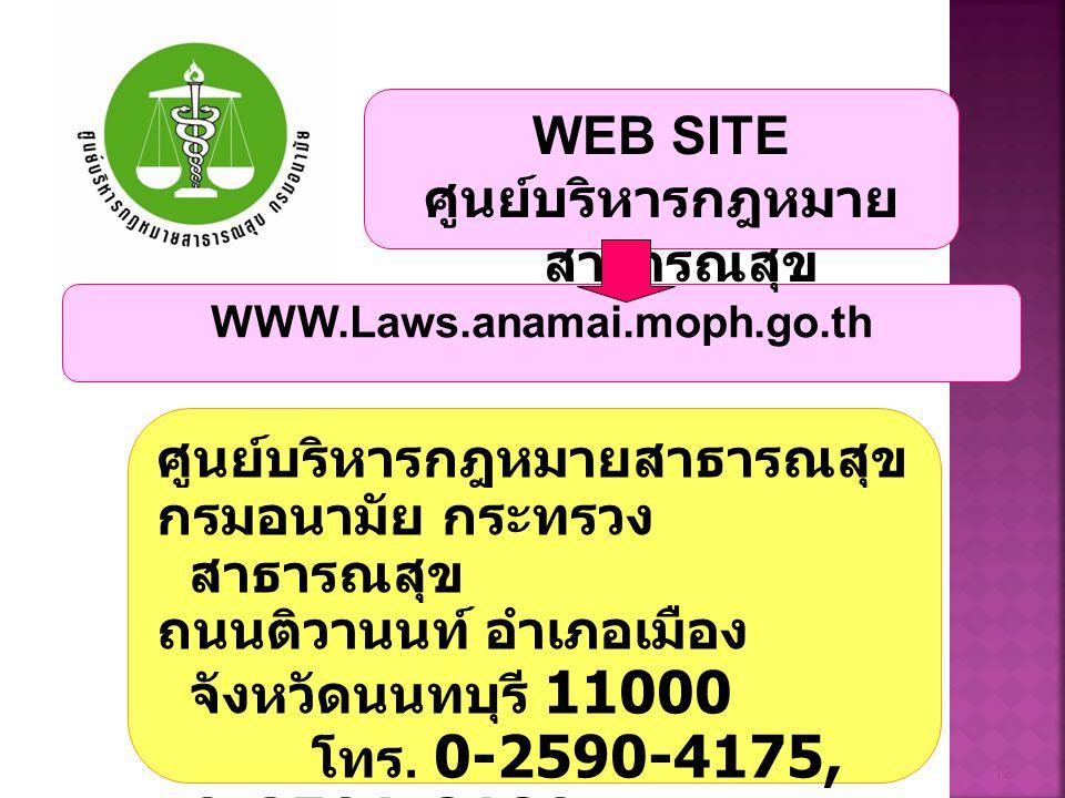 ศูนย์บริหารกฎหมายสาธารณสุข กรมอนามัย กระทรวง สาธารณสุข ถนนติวานนท์ อำเภอเมือง จังหวัดนนทบุรี 11000 โทร. 0-2590-4175, 0-2591-8180 โทรสาร 0-2591-8180 12