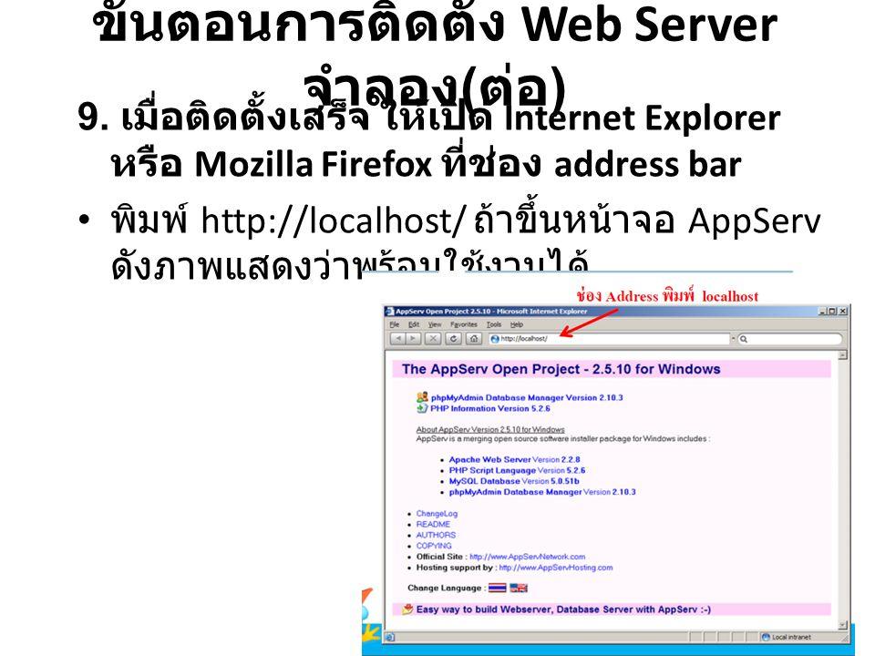 9. เมื่อติดตั้งเสร็จ ให้เปิด Internet Explorer หรือ Mozilla Firefox ที่ช่อง address bar พิมพ์ http://localhost/ ถ้าขึ้นหน้าจอ AppServ ดังภาพแสดงว่าพร้