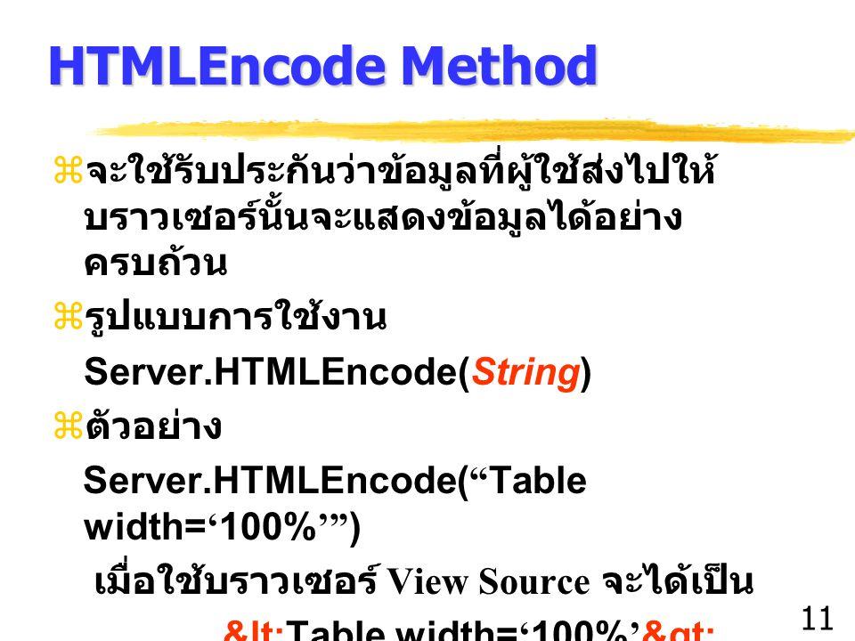 11 HTMLEncode Method z จะใช้รับประกันว่าข้อมูลที่ผู้ใช้ส่งไปให้ บราวเซอร์นั้นจะแสดงข้อมูลได้อย่าง ครบถ้วน z รูปแบบการใช้งาน Server.HTMLEncode(String)  ตัวอย่าง Server.HTMLEncode( Table width= ' 100% ' ) เมื่อใช้บราวเซอร์ View Source จะได้เป็น <Table width= ' 100% ' >