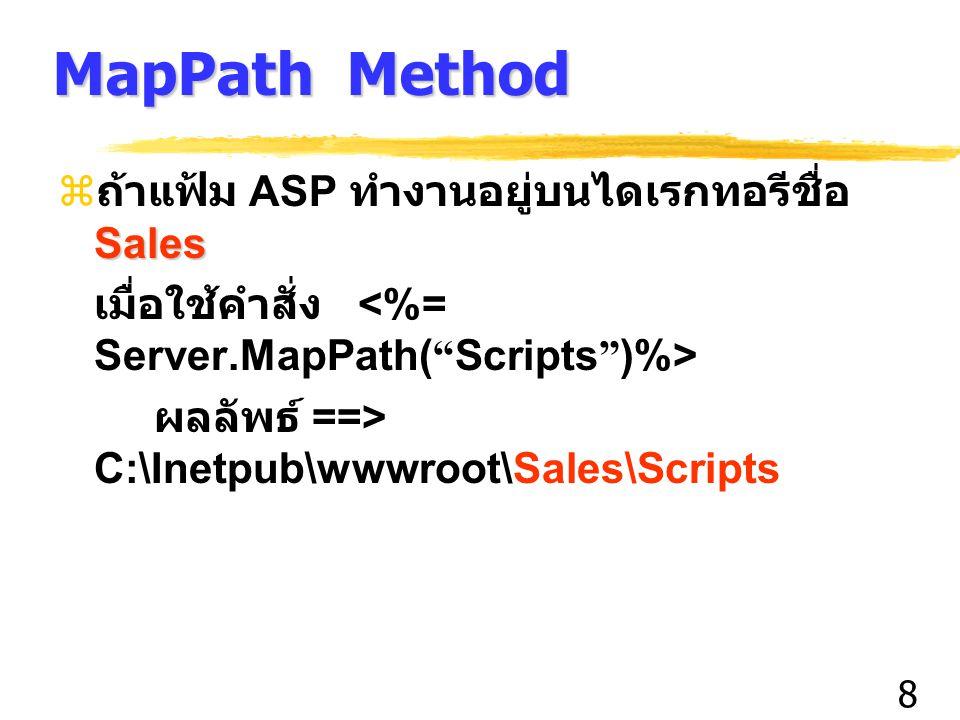 8 MapPath Method Sales  ถ้าแฟ้ม ASP ทำงานอยู่บนไดเรกทอรีชื่อ Sales เมื่อใช้คำสั่ง ผลลัพธ์ ==> C:\Inetpub\wwwroot\Sales\Scripts
