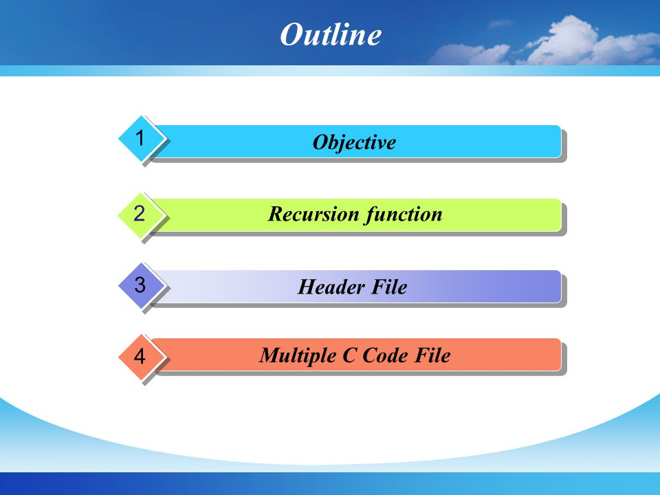 Outline Objective 1 p p 2 Header File 3 Multiple C Code File 4 Recursion function